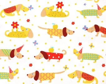 Oxford] Dog, Puppy, Dachshund Patterned Fabric made in Korea by the Half Yard