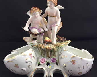 Vintage Cherub Campfire  Dual Candy Dish Porcelain Hand Painted