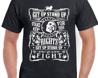 Get Up Stand Up Mens Reggae T-Shirt BoB Marley 1466