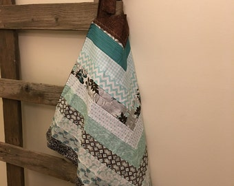 Blue and Brown | Apron | Cotton Apron | Full Apron | Women Apron | Gift for Mom | Ladies Apron | Full Length Apron