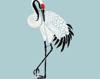 Machine embroidery designs cranes Japanese embroidery