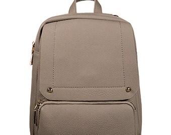 Mini Bakpack/ Taupe Zip fastening along top / Adjustable straps/