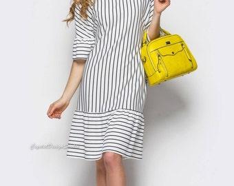 Summer midi dress striped Summer dresses for women Striped Jersey dress for women Oversized dress short sleeve White Dress-shirt Jersey