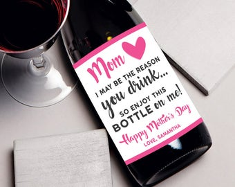 Mothers Day gift, funny mothers day card, mothers day wine label, gift for mom, unique mother's day, mom wine label, funny mothers day wine