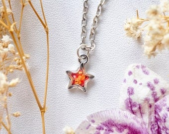 Real Dried Flowers in Resin Star Necklace in Orange and Red
