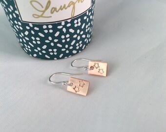 Copper Star Earrings, Mixed Metal Dangle Earrings, Sterling Silver Earrings, Rectangular Earrings, Silver Star Earrings, Simple Earrings