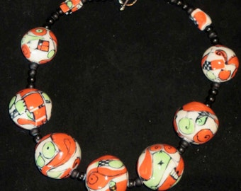 Handmade Organic Design Red and Light Green Ceramic Beaded Necklace