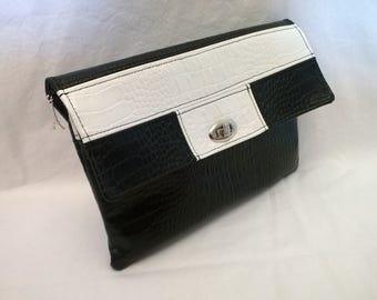 Black and white clutch, shoulder or wrist strap