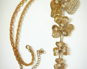 Clover Necklace Shamrock Necklace Y Necklace Irish Necklace Rhinestone Necklace Statement Jewelry Clover Jewelry Costume Jewelry Gold Clover