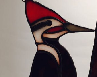 Stained Glass Pileated Woodpecker Suncatcher