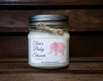 8oz Baby Shower Candles - Baby Shower Favors - Baby Girl Shower - Pink Elephant Theme Party - Baby Shower Prizes - Soy Candles Handmade