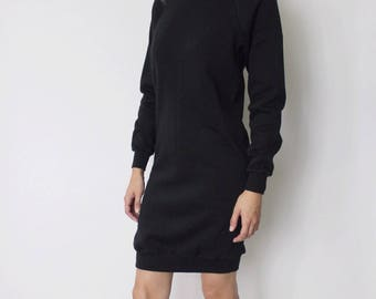 Vintage 1980s Lee Sweatshirt Dress | Black Sweatshirt Dress | Black Sweatshirt | Wiggle Dress