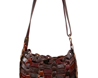Style Aida - The smaller (32x30 cm.) braided leather bag in Brown from Octopus Denmark