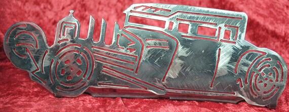1932 Ford Rat Rod Table Top Display, Metal Stand, Automobile Metal Art, 1932 Memorabilia, Classical Car, Vintage Style Art, Automotive Art