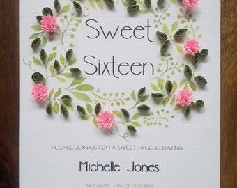 12 Sweet Sixteen Invitations, Sweet 16, Wedding Invitations, Girls Birthday Party Invitation, Floral Circle Invitation.