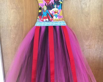 Free Shipping!! Handcrafted Wonder Woman, Batgirl, and Super Girl TuTu Hair Bow Holder