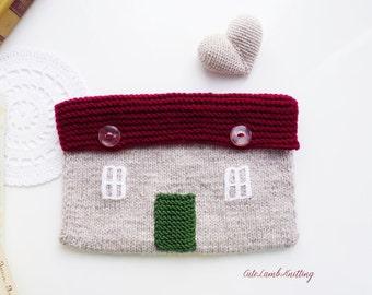 Knitted bag, English cottage bag, unique bag, Country cottage bag, knitted Purse, knitted pouch, knit bag, handmade purse, handmade bag