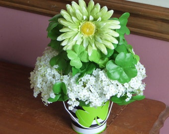 Lucky Shamrocks, Green silk clover arrangement, St. Patrick's Day
