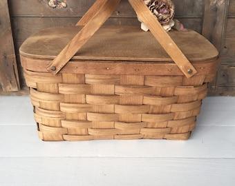 Vintage Basket, Picnic Basket, Split Wood Basket, Basketville, Cottage Chic Decor, Woodland Decor, Farmhouse Decor, Rustic Decor