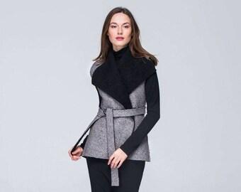 Sleeveless Jacket/ FREE Shipping/ CUSTOM MADE/ Elegant Wrap Jacket/ Spring Jacket/ Fur Jacket/ Sleeveless Cardigan/ Oversized Womens Vest