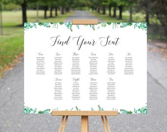 Printable Wedding Seating Chart // Succulents Seating Plan // Green Succulents Wedding Table Chart // Wedding Sign // Wedding Stationery