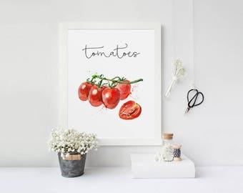Food Painting, Tomatoes, Kitchen Decor, Kitchen Wall Art, Watercolor Art, Restaurant Decor, Cook Printable, Vegetables Printable, Veggies