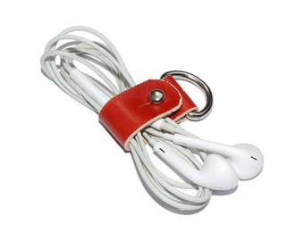 Red Leather Headphone Case / Leather Earphone Holder, Cable Holder / Cord Keeper, Earbud Holder, Leather Cord Organizer