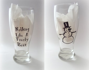 Funny Beer Mug, Funny Beer Glasses, Frosty Beer Mug, Frosty the Snowman, Gift for Him, Gift for Her, Christmas Gift, Beer Gift, Humor,