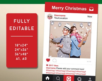Instagram Frame, Instagram Photo Prop, Photo Booth Props, Social Media Props, Instagram Sign, Christmas Photo Booth Props, Editable PDF File