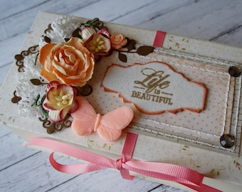 Gift box, jewelry box, decorated box, cardboard box, small box, birthday gift, wedding gift, bridal shower, peach colour box, handmade box