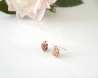 Rose Gold Wire Wrapped Druzy Earrings | Rose Gold | Druzy Studs | Wire Wrapped