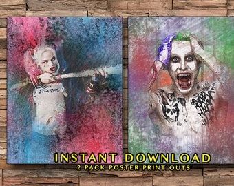 Suicide Squad Printouts, Harley Quinn, The Joker, Harley and the Joker, Jared Leto, Margot Robbie, Superhero Movies, Instant Download, Edgy