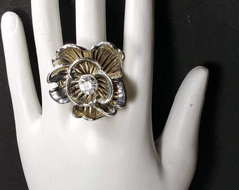 SILVER RHINESTONE RING Adjustable Stretch Ring Flower Statement Ring Vintage Jewelry Costume Jewelry Vintage Ring