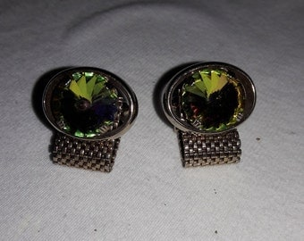 Watermelon Rhinestone Jeweled Mesh Gold Plated Vintage Cuff Links