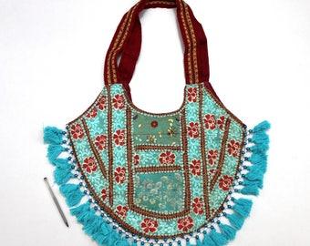 Handmade Ethnic Designer Tribal Banjara Patchwork Embroidered Hippy Fashionable Stylish Trendy Hippie Gypsy Boho Bohemian Shopper Bag F146