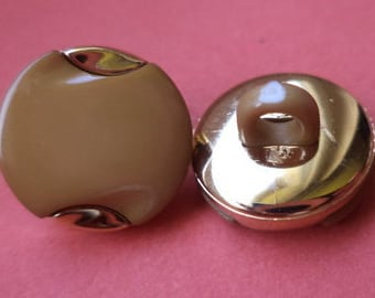14 small light brown buttons 12mm (5179) button