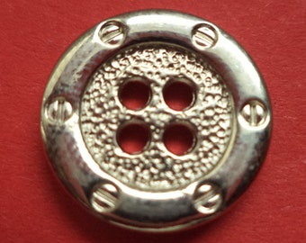 10 METAL BUTTONS silver 16 mm (2630) button metal buttons