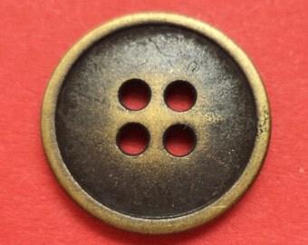 10 metal buttons brass 15 mm (5564) button metal buttons