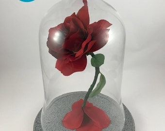 Wedding Centerpiece Life Size Light Up Enchanted Rose Inspired by Beauty and the Beast RED
