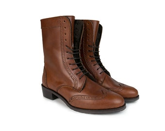 Women Handmade Combat Ankle Leather Boots in Caramel Leather With Heel Sole. Handmade Leather Boots
