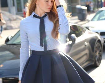 Neoprene skirt; Navy blue skirt; Neoprene; Summer skirt; Mini skirt; Circle skirt; Pleated skirt; Clothing; Skirts; Womens skirt