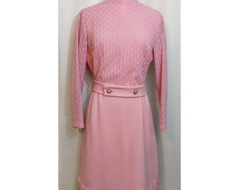 60s Light Pink Lace Mod Dress