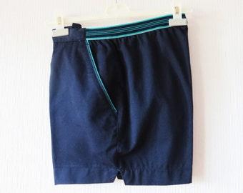 Vintage 80s Navy Blue Shorts Men's Tennis Shorts Navy Beach Shorts With Pockets Golf Shorts Athletic Clothing Sports Wear Size Medium Shorts