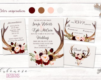 Deer Antlers Burgundy Printable Wedding Invitation Suite Marsala Floral Autumn Wedding Invite Set Skull Horns Fall Digital Invite - WS035