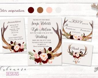 Deer Antlers Burgundy Printable Wedding Invitation Suite Marsala Floral Autumn Wedding Invite Set Skull Horns Fall Digital Invite - WS035