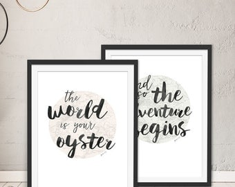 Typographic Prints, Typographic Art, Typography Set - 2 Framed Art Prints by Green Lili. Wall Art. Gift. Interiors.