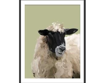 Sheep Print. Sheep Painting. Sheep Gift. Sheep Art. Sheep Picture. Farm Animals by Green Lili. Wall Art. Wall Decor