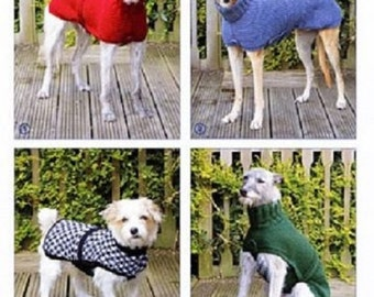 Knitting Pattern for Dog Coat , Dog Sweater , Greyhound , Whippet and   Small Dog Coat , Knitted Dog Pattern KP 05