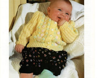 Knitting Pattern Patons 4938 , Baby , Girls Cardigan with Embroidered Flowers , double knitting pattern, flower cardigan, 16-26 inches