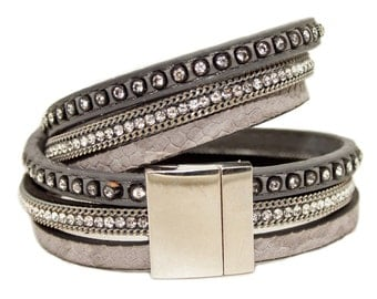 Rhinestone and Chain Double Wrap Cuff - Grey - 3 strands on vegan leather with magnetic clasp finish